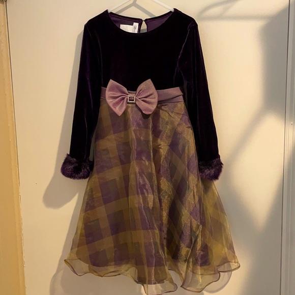 Bonnie Jean purple plaid holiday dress size 6